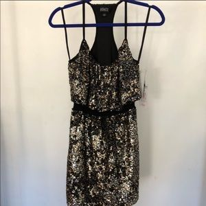 Adrianna Papell black and gold sequin dress SZ 2